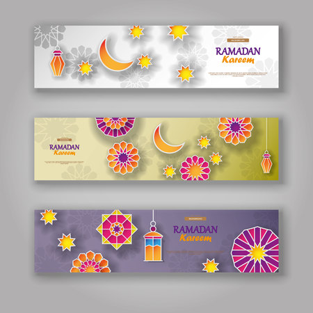 Ramadan Kareem horizontal banners with 3d arabesque stars and flowers. Vector Illustration for greeting card, poster and voucher. Islamic crescent moon with hanging traditional lanterns. Illustration