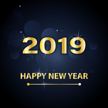 Happy New Year 2019 text design. Vector greeting illustration with golden numbers and snowflakes on a dark blue background