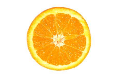 navel orange: A slice of a Navel orange isolated on white.