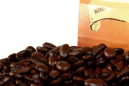Coffee Beans and Bag Stock Photo