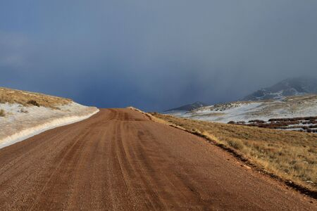 sloping: Desert road in late winter.
