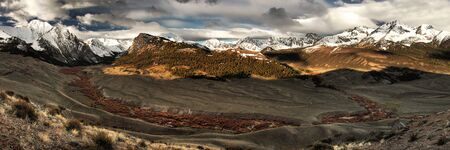 Upper Pahsimeroi River and Lost River Mountain Range in central Idaho Stock Photo