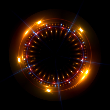 ネオン背景を抽象化します。発光旋回。熱烈なスパイラル カバー。エレガントなブラック。ヘイローの周り。絶縁の電源。火花の粒子。スペース ト 写真素材