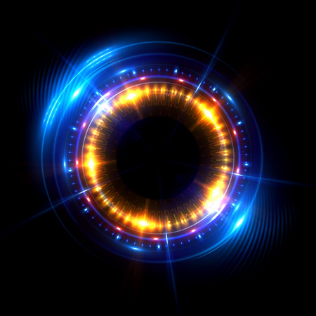 glint: Abstract neon background. luminous swirling. Glowing spiral cover. Black elegant. Halo around. Power isolated. Sparks particle. Space tunnel. Glossy jellyfish. LED color ellipse. Glint glitter Stock Photo