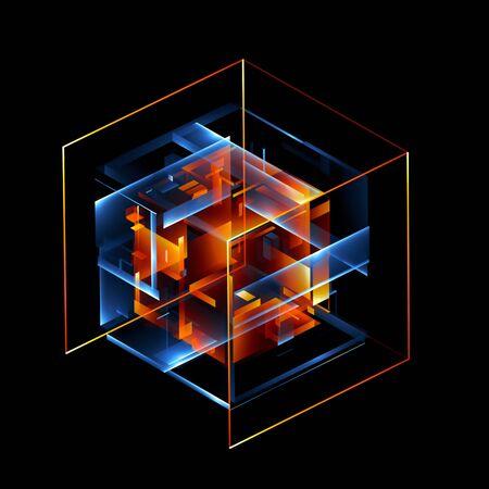 3d abstrakte moderne Technologie. Kastenschema. Neurales Netzwerk. Glasblöcke. Web-Konstruktion. Industrielle Würfelobjekte. Hardware-Quantenform. Intelligenter Build. Schnittmenge zusammensetzen. Rasterkern. Glow-Tech Standard-Bild - 73346987