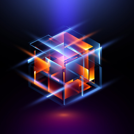 3d abstract modern technology. Box scheme. Neural network. Glass blocks. Web construction. Industrial cube objects. Hardware quantum form. Smart build. Intersect composition. Grid core. Glow tech
