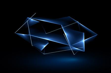 美しい結晶。魔法の図形。分離されたオブジェクト。テクノ エッジ。モダンなキューブ。色の輝きのグラフィック。きれいな三角形のカバー。技術 写真素材