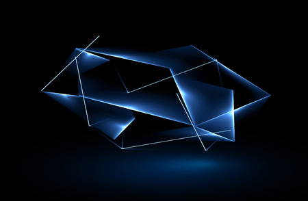 아름다운 크리스탈. 마술 모양. 격리 된 개체입니다. 테크노 에지. 현대 큐브입니다. 색상 손질 그래픽. 깨끗한 삼각형 덮개. 기술 레이저 멋진 메쉬. 보