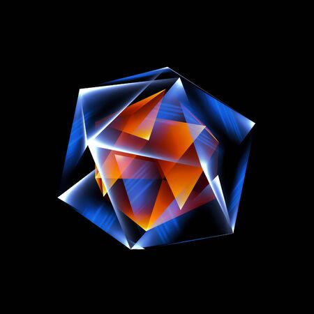 Beautiful crystal. Magic shapes. Object isolated. Techno edge. Modern cube. Color shine graphic. Clean triangle cover. Tech laser cool mesh. Gem energy icon. High virtual detail vision. 3d pattern