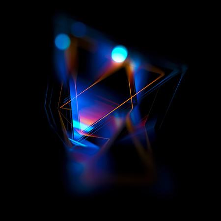 3D-abstracte achtergrond met geometrische. Concept nieuwe technologie en dynamische beweging. Digitale datavisualisatie. Diamanten prisma. Veelhoekige kristallen. Helder figuur in sterrenhemel kosmos. Gloeiende driehoeken Stockfoto - 80604641