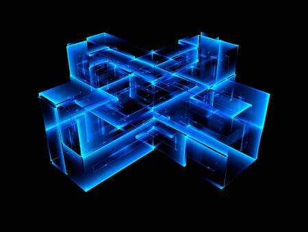 illuminate: 3d abstract modern technology. Box scheme. Neural network. Glass blocks. Web construction. Industrial cube objects. Hardware quantum form. Smart build. 3d illustration. Grid core. Glow tech Stock Photo