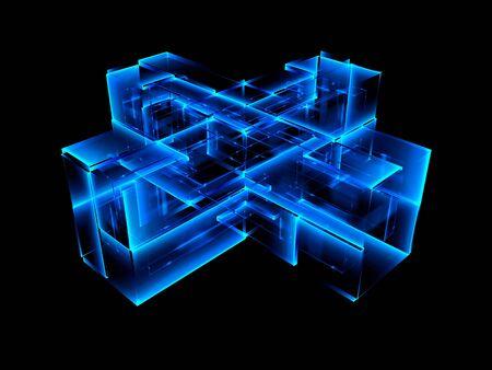 3d abstract modern technology. Box scheme. Neural network. Glass blocks. Web construction. Industrial cube objects. Hardware quantum form. Smart build. 3d illustration. Grid core. Glow tech Stock Photo