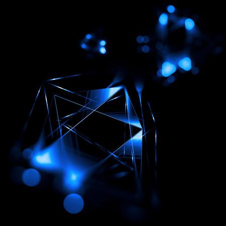 형상으로 3d 추상적 인 배경입니다. 개념 신기술 및 동적 모션입니다. 디지털 데이터 시각화. 다이아몬드 프리즘. 다각형 결정체. 별이 빛나는 우주에