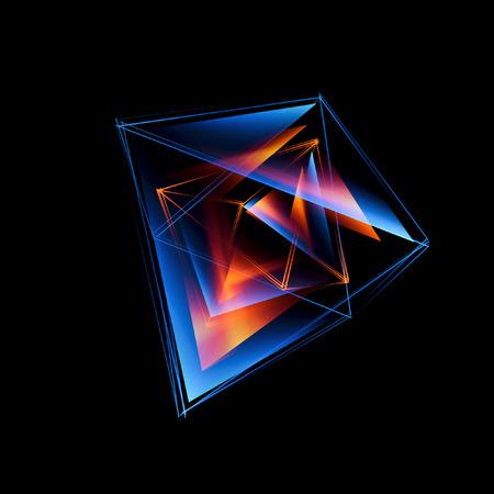 3d abstracte achtergrond met geometrisch. Begrip nieuwe technologie en dynamische beweging. Digitale gegevensvisualisatie. Diamant prisma. Veelhoekige kristallen. Helder cijfer in sterrenkosmos. Gloeiende driehoeken
