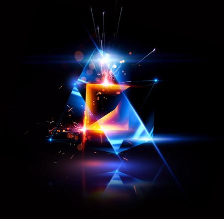 3d abstracte achtergrond met geometrisch. Begrip nieuwe technologie en dynamische beweging. Digitale gegevensvisualisatie. Diamant prisma. Veelhoekige kristallen. Helder cijfer in sterrenkosmos. Gloeiende driehoeken Stockfoto - 80604402