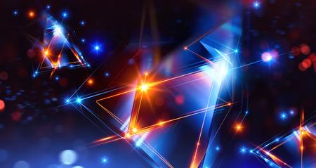 3d resumen de antecedentes con geométrica. Concepto de nueva tecnología y movimiento dinámico. Visualización de datos digitales. Prisma de diamante. Cristales poligonales. Figura brillante en cosmos estrellado. Triángulos brillantes
