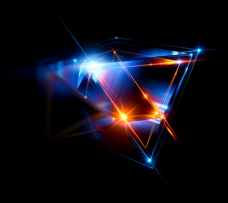 3d abstract background with geometric. Concept new technology and dynamic motion. Digital data visualization.  Diamond prism. Polygonal crystals. Bright figure in starry cosmos. Glowing triangles