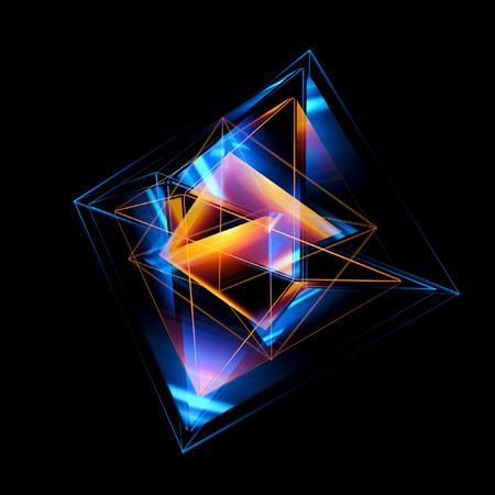 3d abstracte achtergrond met geometrisch. Begrip nieuwe technologie en dynamische beweging. Digitale gegevensvisualisatie. Diamant prisma. Veelhoekige kristallen. Helder cijfer in sterrenkosmos. Gloeiende driehoeken Stockfoto - 80604287