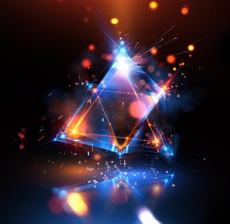 Abstrait 3D avec géométrique. Concept nouvelle technologie et mouvement dynamique. Visualisation de données numériques. Prisme de diamant. Cristaux polygonaux. Silhouette lumineuse dans le cosmos étoilé. Triangles lumineux