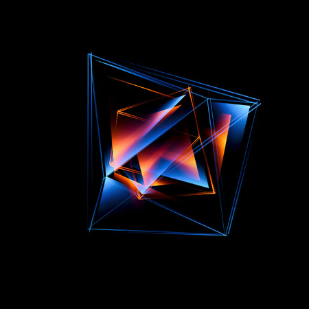 3d abstract background with geometric. Concept new technology and dynamic motion. Digital data visualization. Diamond prism. Polygonal crystals. Bright figure in starry cosmos. Glowing triangles Banque d'images