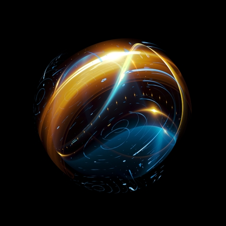 Abstract ring background. Glowing spiral. The energy flow tunnel. Shine round frame with light circles light effect. Glowing cover. Space for message. Light sphere. Atom power. Stock Photo