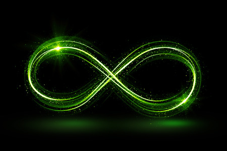 Lighting 3d infinity symbol. Beautiful glowing signs. Sparkling rings. Swirl icon on black background. Luminous trail effect. Colorful isolated sparkling loop. Reklamní fotografie