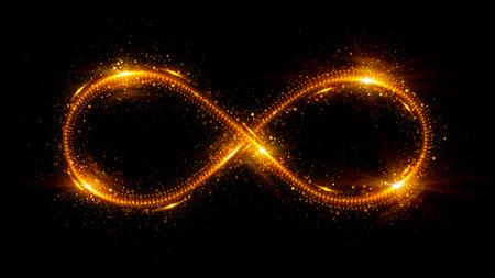 3 d の無限大の記号を照明します。美しい輝く看板。 輝くリング。黒の背景にアイコンを旋回します。 発光トレイル効果。カラフルな独立したスパ