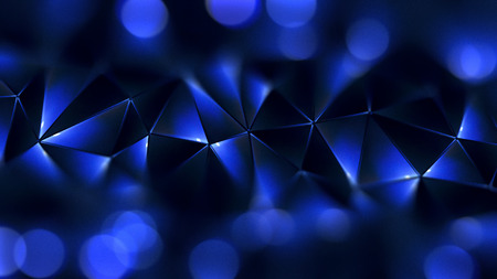 defocus: Colored abstract geometric background. 3D illustration. Polygonal glossy surface. Glowing structure.