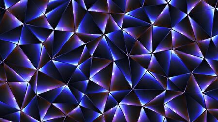 Colored abstract geometric background. 3D illustration. Polygonal glossy surface. Glowing structure.