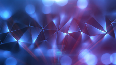 gentle: Colored abstract geometric background. 3D illustration. Polygonal glossy surface. Glowing structure. Optical flares glare