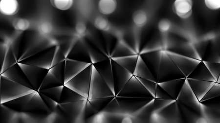 defocus: Abstract geometric background. 3D illustration. Polygonal beautiful glossy surface Stock Photo