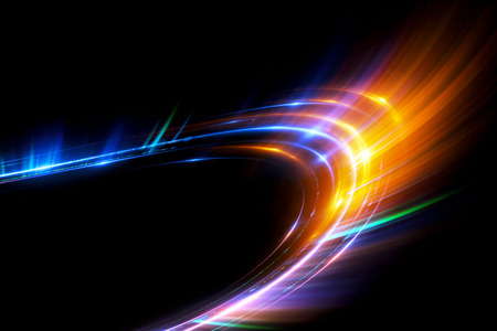 Beautiful light flares. Glowing streaks on dark background. Luminous abstract sparkling lined background.  light effect wallpaper. Sci fi technology. Stock Photo