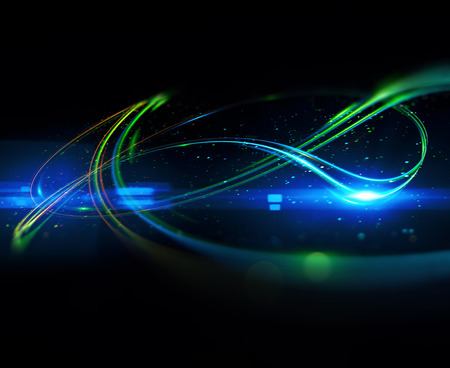 Beautiful light flares. Glowing streaks on dark background. Luminous abstract sparkling lined background. 