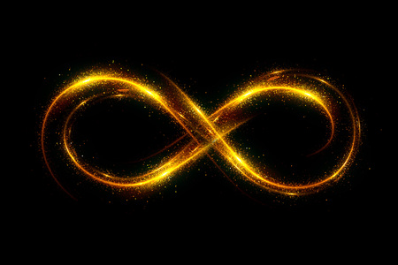 Lighting 3d infinity symbol. Beautiful glowing signs.Sparkling rings. Swirl icon on black background.Luminous trail effect. Colorful isolated sparkling loop.