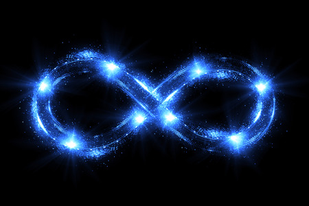 Lighting 3d infinity symbol. Beautiful glowing signs.Sparkling rings. Swirl icon on black background.Luminous trail effect. Colorful isolated sparkling loop. Stock Photo - 80778461