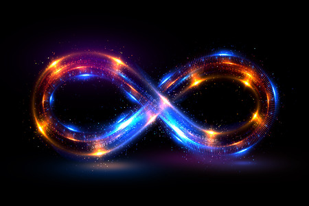 Verlichting 3d oneindigheids symbool. Mooie gloeiende borden. Mousserende ringen. Wervelingspictogram op zwarte achtergrond. Lichtstraal effect. Kleurrijke geïsoleerde sprankelende lus.