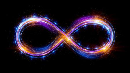 Iluminación 3d símbolo del infinito. Hermosas señales brillantes. Anillos chispeantes. Icono de remolino sobre fondo negro. Efecto luminoso del rastro. Colorido aislado bucle brillante. Foto de archivo