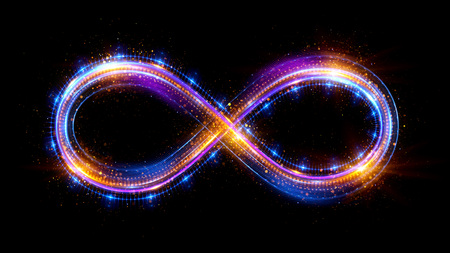 endlos: Lighting 3d infinity symbol. Beautiful glowing signs. Sparkling rings. Swirl icon on black background. Luminous trail effect. Colorful isolated sparkling loop. Lizenzfreie Bilder