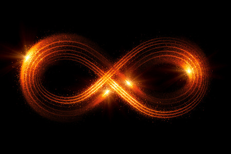 Lighting 3d infinity symbol. Beautiful glowing signs. Sparkling rings. Swirl icon on black background. Luminous trail effect. Colorful isolated sparkling loop. Фото со стока