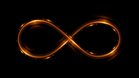 light traces: Lighting 3d infinity symbol. Beautiful glowing signs. Sparkling rings. Swirl icon on black background. Luminous trail effect. Colorful isolated sparkling loop. Stock Photo