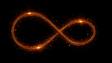 Lighting 3d infinity symbol. Beautiful glowing signs. Sparkling rings. Swirl icon on black background. Luminous trail effect. Colorful isolated sparkling loop. Stock Photo