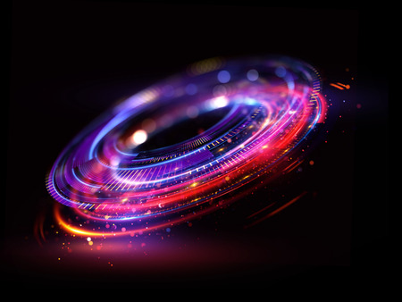 Abstracte achtergrond. lichtgevende swirl. Elegante gloeiende cirkel. Heldere spiraal. Glow lint. Lege ruimte. Fonkelend deeltje. Ruimtetunnel. Glanzende baan. Kleurrijke ellips. Glint Galaxy. Ovaal stadium Stockfoto