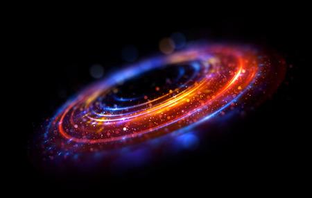 Sfondo astratto ricciolo luminoso. Elegante cerchio luminoso. Spirale luminosa Nastro incandescente Spazio vuoto. Particella scintillante. Tunnel spaziale Orbita lucida. Ellisse colorato. Galassia glint Palcoscenico ovale Archivio Fotografico - 80817736