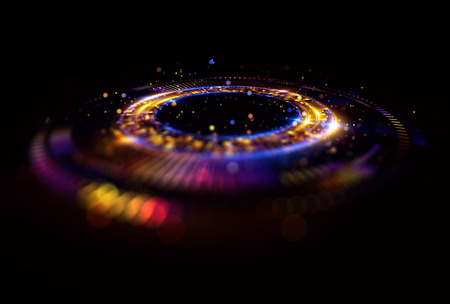 Abstract background. luminous swirl. Elegant glowing circle. Bright spiral. Glow ribbon. Empty space.  Sparkling particle. Space tunnel. Glossy orbit. Colorful ellipse. Glint galaxy. Oval stage Stock Photo