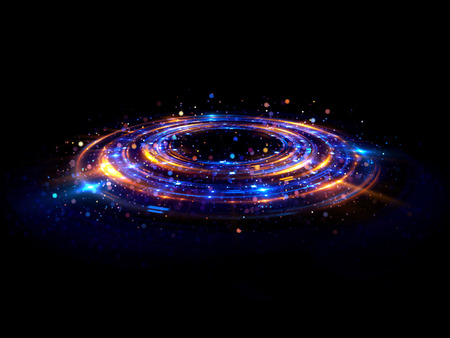 Abstract background. luminous swirl. Elegant glowing circle. Bright spiral. Glow ribbon. Empty space.  Sparkling particle. Space tunnel. Glossy orbit. Colorful ellipse. Glint galaxy. Oval stage Imagens