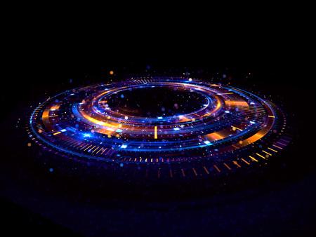 抽象的な背景。光の渦。エレガントな光る円。明るいらせんを描きます。グローのリボン。空の空間。 輝く粒子。スペース トンネル。光沢のある軌