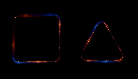 Glowing frames black background. Square glow borders. Sparkling geometric light banner. Luminous triangle light shape.  Shining triangular forms. Neon sign. Bright sign with flares and sparkles. LED