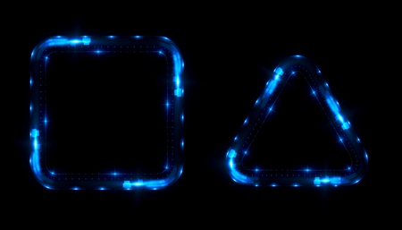495c1a9b Glowing frames black background. Square glow borders. Sparkling geometric  light banner. Luminous triangle