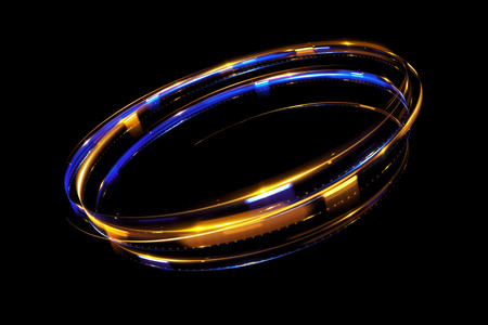 Glow effect. Ribbon glint. Abstract rotational border lines. Power energy. LED glare tape.Luminous shining neon lights cosmic abstract frame. Magic design round whirl. Swirl trail effect. Stock Photo - 81435225