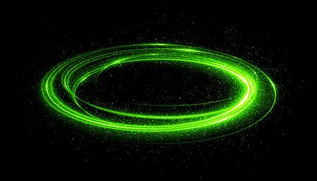 ellipse: Efecto de resplandor. Brillo de la cinta. Resumen líneas de rotación de la frontera. Energía electrica. Cinta de deslumbramiento LED. Luces de neón brillantes brillantes marco abstracto cósmico. Giro redondo del diseño mágico. Efecto del remolino.